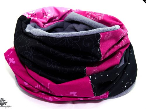 Winterschal Damen pink schwarz