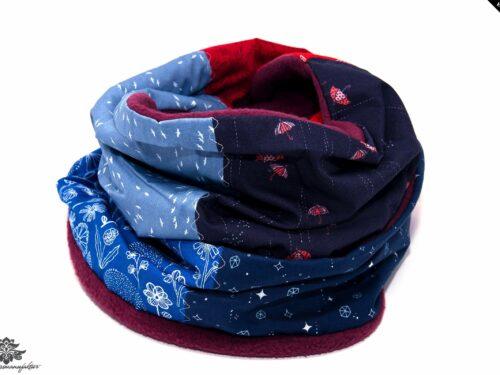 Winterschal Damen rot blau