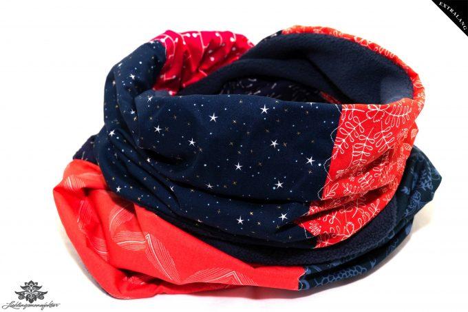 Winterschal Damen rot dunkelblau