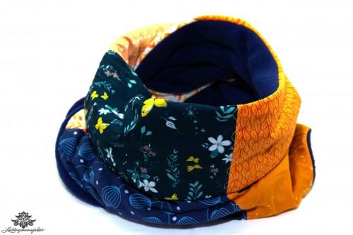 Winterschal blau orange