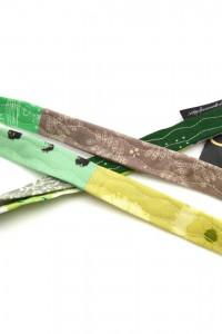 Schlüsselband schmal grün gelb grau