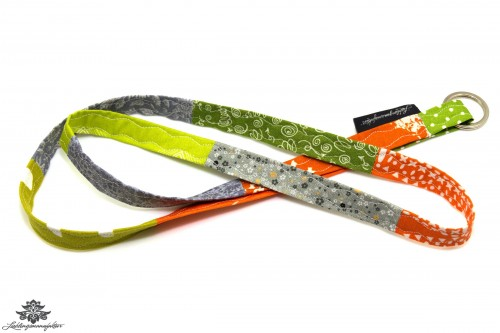 Schlüsselband schmal grün orange grau
