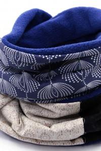 Schal dunkelblau beige