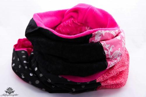 Schal Winter pink schwarz