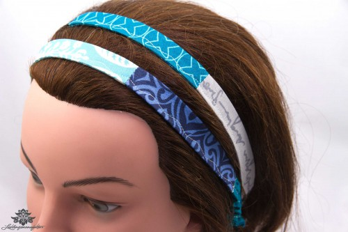 Haarband dunkelblau blau weiss