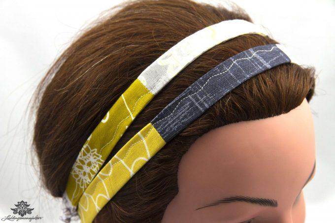 Haarband gelb grau
