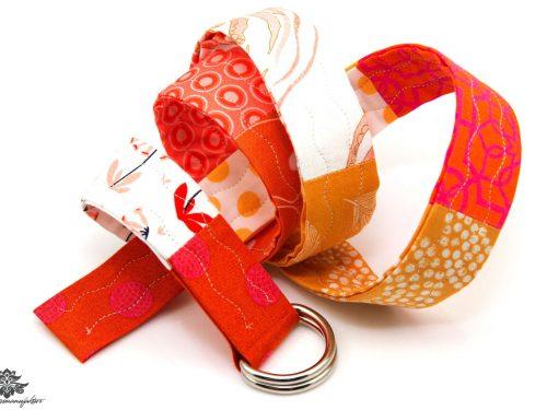 Gürtel Stoff rot orange weiß
