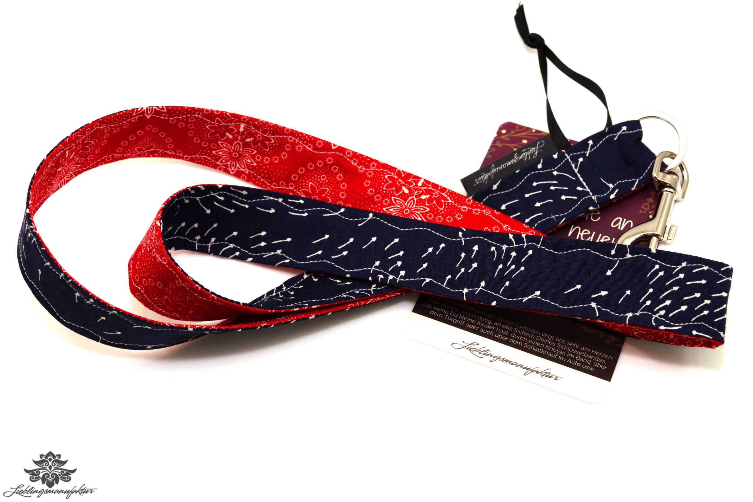 lanyard karabiner marineblau rot schl sselband. Black Bedroom Furniture Sets. Home Design Ideas