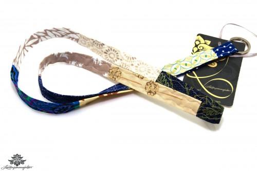 Lanyard Schlüsselband blau beige
