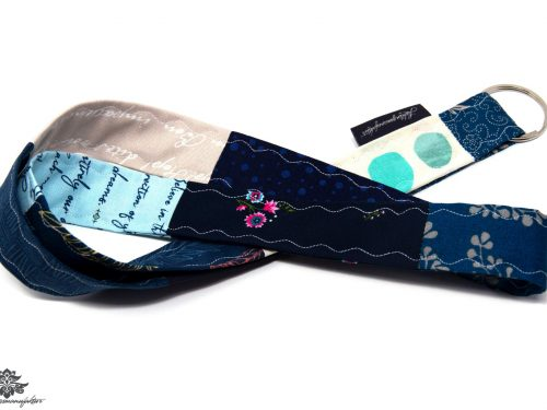 Lanyard Schlüsselband grau blau