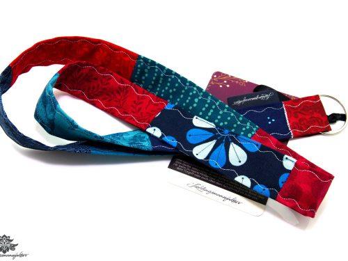 Lanyard Schlüsselband rot dunkelblau