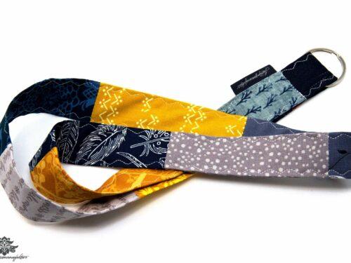 Lanyard Schlüsselband dunkelblau grau gelb