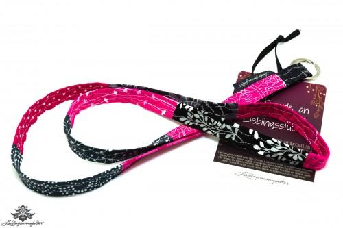 Lanyard schmal schwarz pink