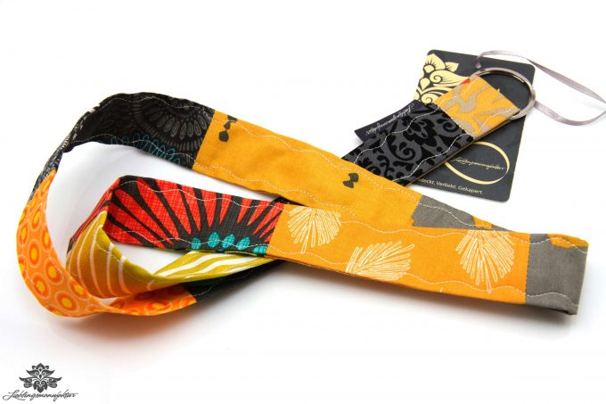 Lieblingsfarbe orange Buntes Patchwork Schluesselband