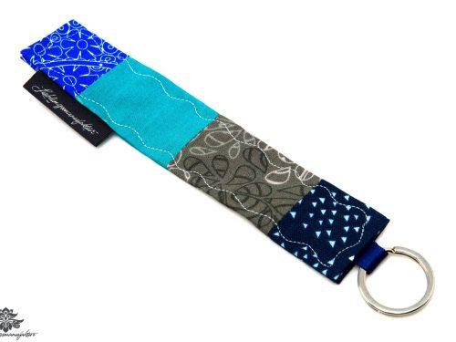 Schlüsselanhänger Stoff blau grau