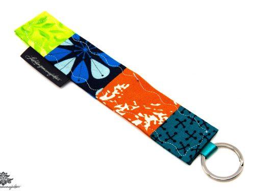Schlüsselanhänger Stoff türkis orange