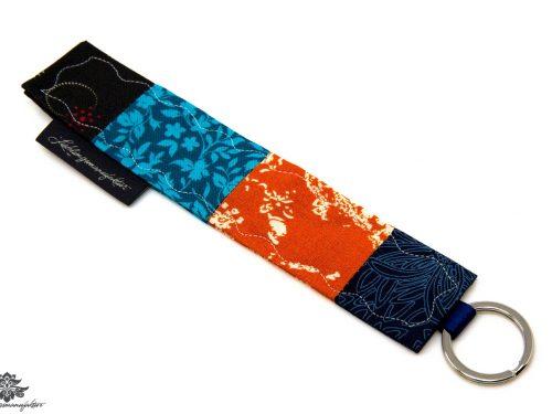 Schlüsselanhänger orange blau Stoff genäht