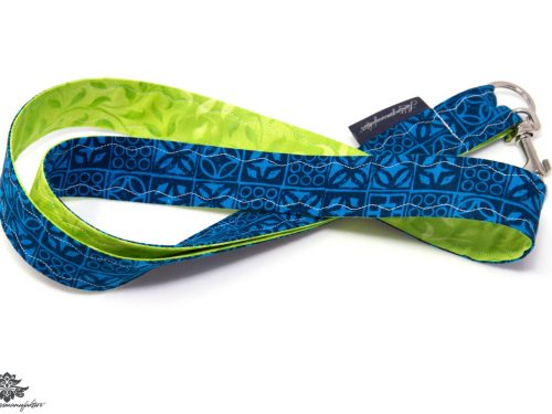 Schlüsselband blau grün Karabiner