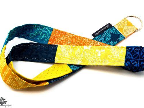 Schlüsselband blau orange gelb Lanyard