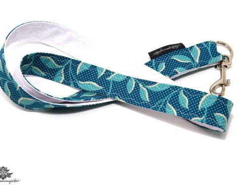 Schlüsselband blau türkis Blumenmuster