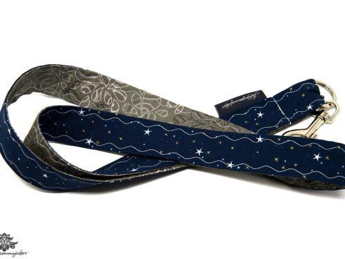 Schlüsselband dunkelblau grau