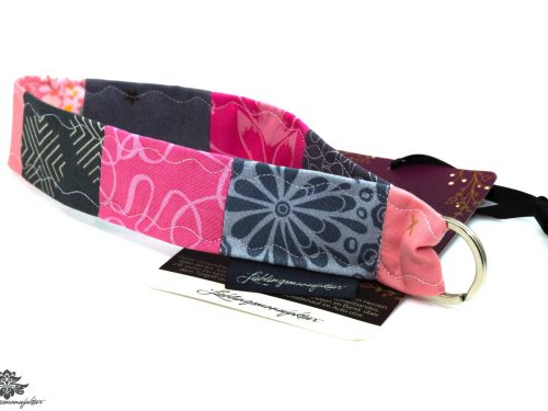 Schlüsselband kurz grau rosa pink