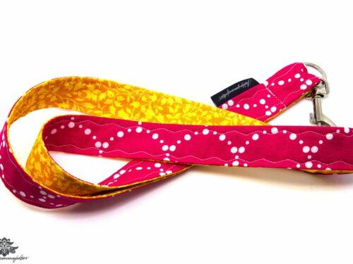 Schlüsselband Karabiner gelb pink