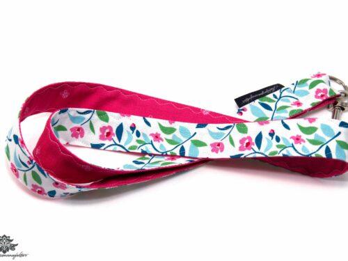 Schlüsselband pink weiss türkis Blumenmuster