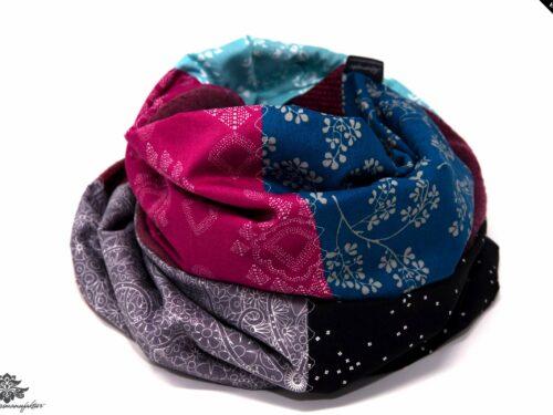Loopschal Winter blau berry grau