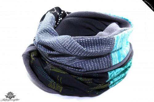 Loopschal Winter blau grau schwarz