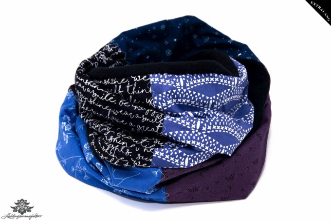 Loopschal Winter blau lila schwarz