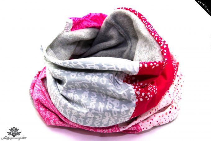 Loopschal grau pink Winter