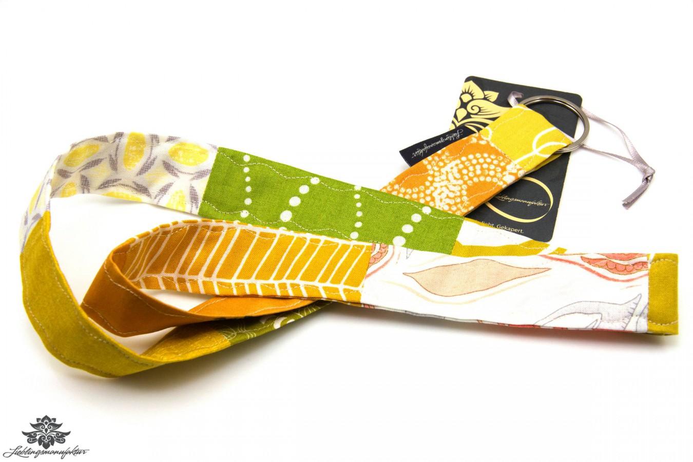 Patchwork Schlüsselband Farbe Gelb Weiss Orange