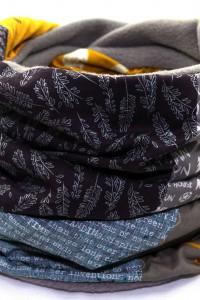 Schal Loop grau orange dunkelblau