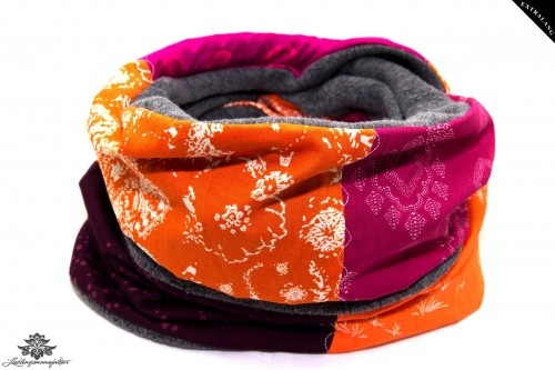 Schal Loop grau orange pink