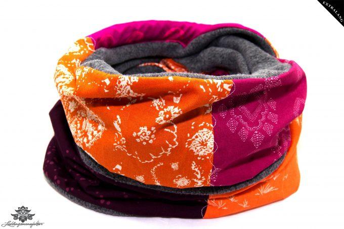 Schal Loop grau orange pink