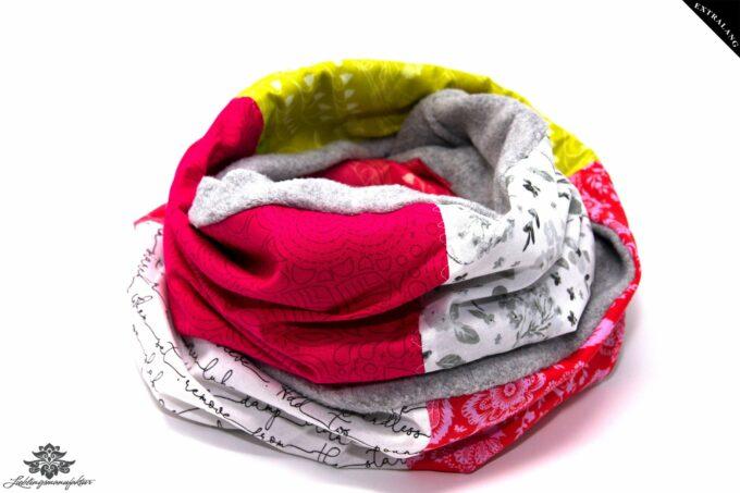 Schal Loop grau pink weiss