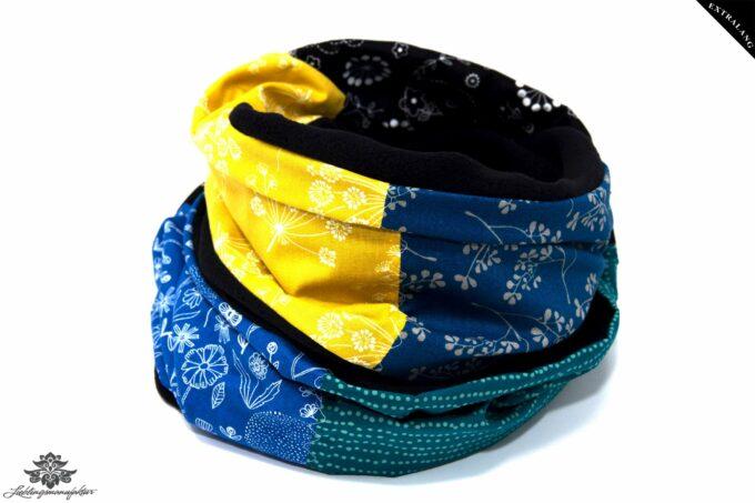 Schal Winter Loop gelb blau