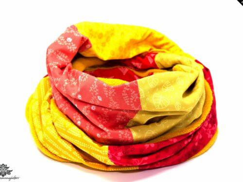Schal Winter Loop gelb orange rot