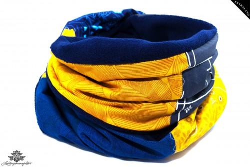 Schal gelb blau