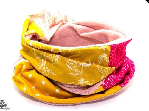 Schal gelb rosa