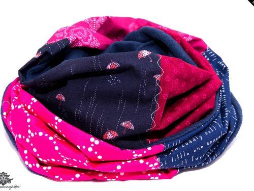 Schal pink marineblau