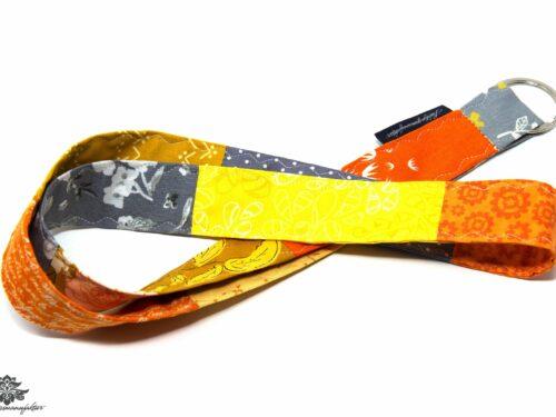 Schlüsselband orange gelb grau