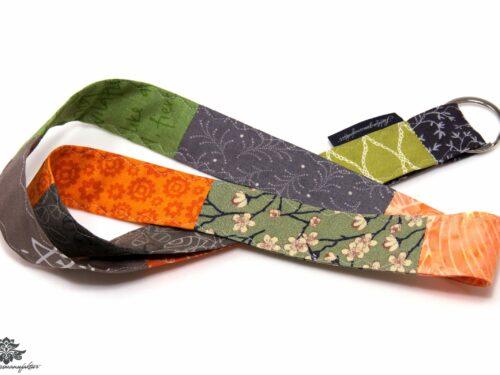 Schlüsselband orange grün grau