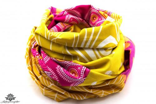 Tuch gelb pink