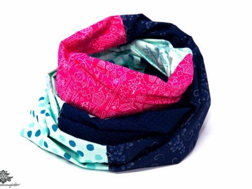 Tuch dunkelblau türkis pink