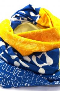 Tuch gelb blau