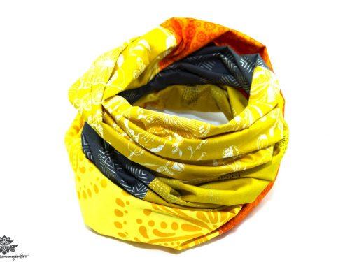 Tuch gelb orange grau