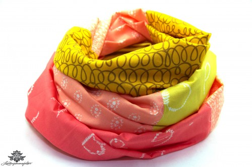 Tuch gelb rosa