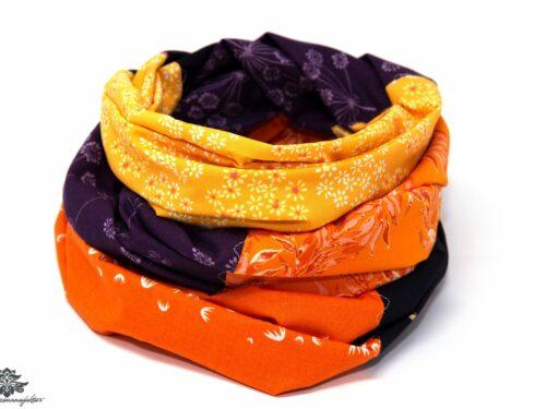 Tuch orange lila blau